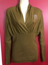 CHELSEA & THEODORE Women's Pure Olive Ribbed Wrap Sweater - Size Small - NWT