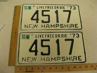 1973 73 1974 74 NEW HAMPSHIRE NH LICENSE PLATE PAIR SET # 4517