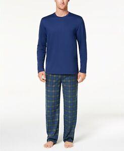 Club Room Men's Fleece Pajama Set Navy/Hunter