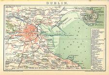 Historische, alte Stadtkarte 1894: Dublin. Stadtkarte farbig Irland (B14)