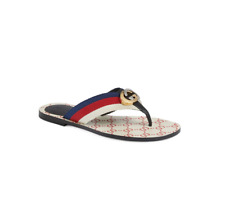Gucci Women Kika GG Logo Web Stripes Flip Flop Sandal White Red Size 36 NIB $490