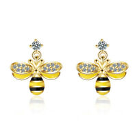 High Quality 925 Silver Bee Stud Earrings for Women CZ Zircon Insect Earrings