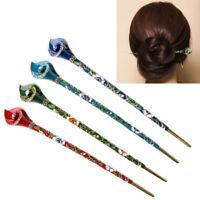 Women Chinese Style Retro Rhinestone Hair Chopsticks Stick Hairpin Chignon Pin