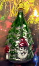 """Gnome Under Fir Tree - """"Vintage Style"""" Ornament From Lauscha, Germany"""