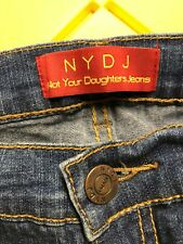 NYDJ Not Your Daughters Jeans Stretch Dark Blue Capri Jeans Rhinestone ~ Size 6