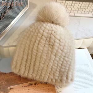 Womens Winter Warm Real Mink Fur Hat Knitted Ski Cap Beanie W Real Fox Fur Ball