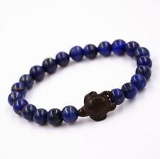 8mm Natural Lapis Lazuli Tibet Buddist Prayer Beads Tortoise Wood Bracelet Luck