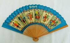 More details for vintage advertising fan 1960s boac british airways wood paper aeronautical 60s