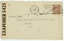 1943 Ireland Baile Atha Cliath WWII censored surface rate - solo 2/1/2d - cover