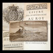 VESUVIO - Castera : Histoire Mont Vesuve -  Paris 1741 Tavole Vulcani Eruzione