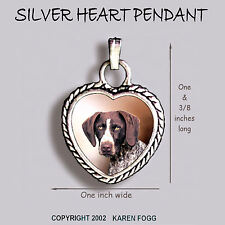 German Shorthair Pointer Dog - Ornate Heart Pendant Tibetan Silver