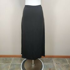 Eileen Fisher Size M Brown Silk Maxi Skirt A-Line Georgette Crepe