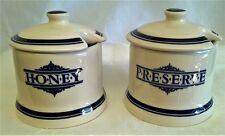 1869 VICTORIAN POTTERY COMPANY HONEY & PRESERVE POT SET - BLUE & CREAM JAM JARS