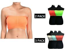 2/3 Pack Women's basic Removable Padded Strapless Stretch Bandeau Tube Bra Top