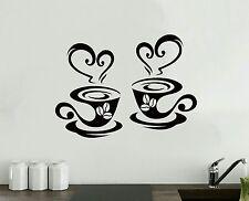 2 tazas de café Cocina Pared Calcomanía De Vinilo Pegatina de té restaurante de Arte Decoración pub Amor