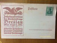 EBS Germany 1913 Postal Card Breslau Jahrhundertfeier Freiheitskriege P94II/02
