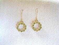 .80 Ct. Peridot 'Eternity Circle'  10k Gold Dangle Earrings