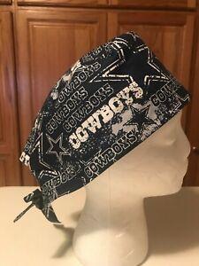 Scrub or Chef Hat Medical Nursing Chemo Skull Cap Dallas Cowboys Cotton Fabric