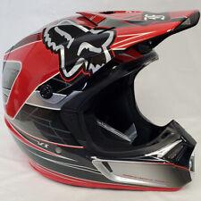 Fox Racing V3 Off Road MX SxS Helmet Steel Faith Red/Silver Medium MD *Closeout*