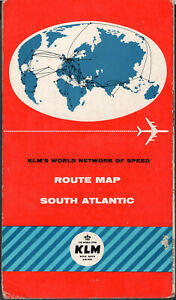 KLM AIRLINES NETHERLANDS AVIATION SOUTH ATLANTIC ROUTE MAP