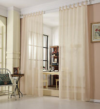 2er Gardinen Vorhang transparent Schal Leinenoptik 140x245cm Sand VH5863sd-2