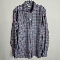 Eton Contemporary Fit Mens Plaid Button Front L/S Shirt Size Medium 15 3/4 E325