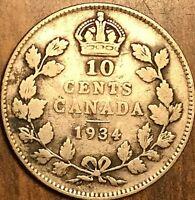 1934 CANADA SILVER 10 CENTS