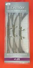 3 pairs (ONE 3 pack) Foster Grant Reading Glasses TURNER Gun +1.25  NEW!
