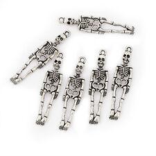 10pcs Human skeleton halloween Tibetan Silver Bead charms Pendants 39*10mm