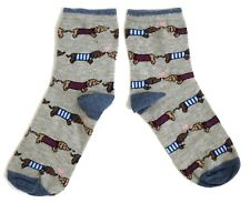 LADIES DACHSHUNDS NOSE TO TAIL GREY SOCKS UK 4-8 EUR 37-42 USA 6-10