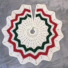 "VTG Christmas Tree Skirt Crocheted Round Red White Green Hand Made Yarn 30"""