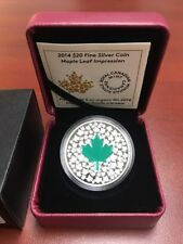 2014 $20 Maple Leaf Impression Fine Silver Coin With Green Leaf RCM New