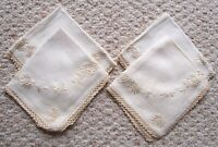 """4 Ivory Off White Linen Crochet Cloth With Lace Napkins 13 1/2"""" x 11 1/2"""""""