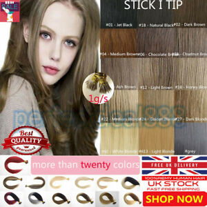 """14""""-24"""" 7A 1G Stick I Tip Micro Loop Double Drawn Remy Human Hair Extensions UK"""