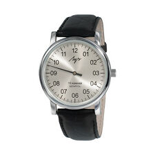 One Hand Luch Mechanical Wristwatch Men's leather Vintage Silver 37471762 RUS