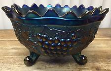 3 Ft Fruit Bowl Carnival Glass Northwood Grape Cable Banded Stipled Blue Antique