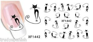 Halloween Black Cats Pussy Cat Water Transfer Nail Art Stickers Decals 1442