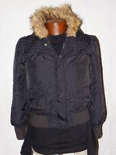 Girl's Old Navy Faux Fur Trim Hooded Black Jacket M Old Navy Size M Jacket