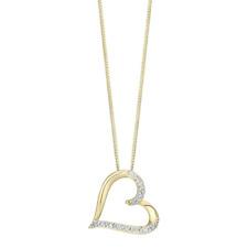 Pave 0.50 Cts Round Brilliant Cut Diamonds Heart Pendant In Fine 14K Yellow Gold