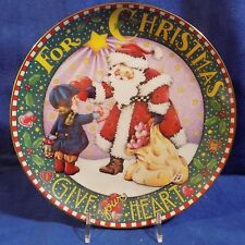 Danbury Mint Mary Engelbreit For Christmas Give Your Heart Collector Plate - Euc