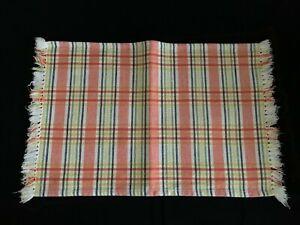 4 Fiesta Ware Fabric Placemats Set Homer Laughlin Bright Plaid Stripes