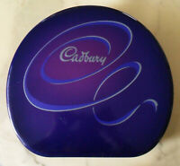 Vintage Big Empty CADBURY Blueish Purple & Silver TIN BOX Almost Round, Preowned