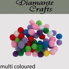 Pom Poms 6mm 10mm 12mm 25mm 50mm 60mm Craft Fluffy - Choose Size Quantity Colour