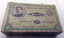 Vintage 1920's Gillette English/British Mayfair De Luxe Safety Razor Set Shipper