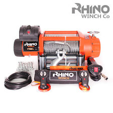 24v Electric 4x4 Recovery Rhino Winch 17500lb Steel Cable Heavy Duty Wireless