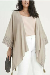 NEW Ryllace Kimono Bohemian Top Plus One Size Beige Taupe Embroidered Ruana NWT