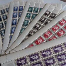 FEUILLE SHEET TIMBRE CÉLÉBRITÉS N°930/935 x25 1952 NEUF ** LUXE MNH COTE 1500€