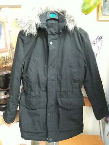 H&M thick ¾ length black parka jacket, x-small