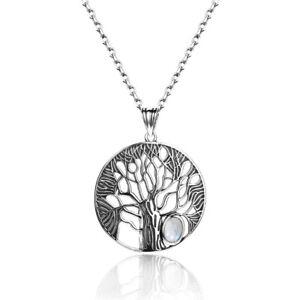 Boho 925 Silver Rainbow Moonstone Handmade Filigree Tree Pendant Necklace Chain