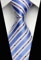 Tie Necktie Blue White Black Purple Striped Classic 100% Silk Mens Ties Neckties